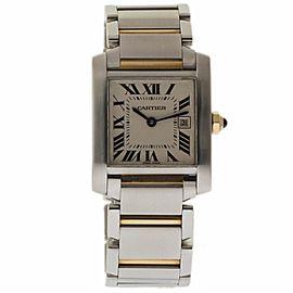 Cartier Tank Francaise W51012Q4 Stainless Steel & 18K Yellow Gold Silver Dial Quartz 26mm Womens Watch