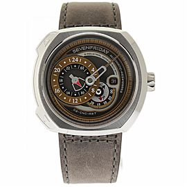 Sevenfriday Q-Series Q2-01 Stainless Steel & Leather Automatic 49mm Mens Watch