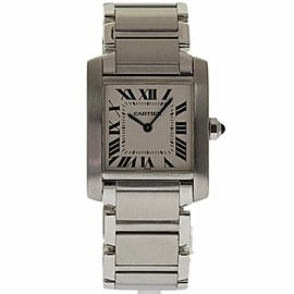 Cartier Tank Francaise WSTA0005 Stainless Steel White Dial Quartz 25mm Womens Watch