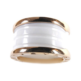 Bulgari B-Zero1 18K Rose Gold and White Ceramic 3-Band Ring Size 6.5