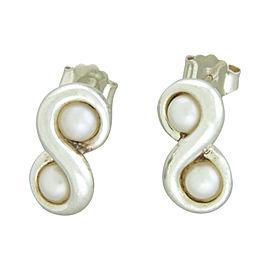 Tiffany & Co. 925 Sterling Silver & Pearl Infinity Stud Earrings