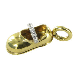 Aaron Basha 18K Yellow Gold 0.06ct. Diamonds Baby Shoe Strap