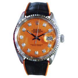 Rolex Datejust Stainless Steel & 18K White Gold Orange Dial 36mm Mens Watch