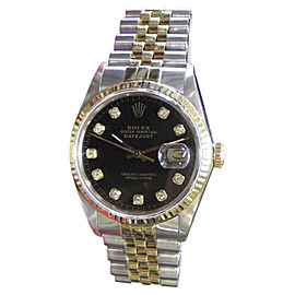 Rolex Datejust 16013 Yellow Gold and Stainless Steel Black Diamond Dial 36mm Mens Watch