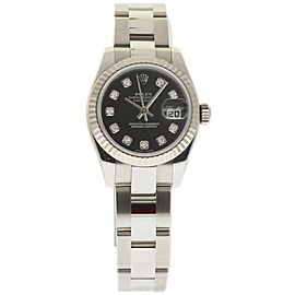 Rolex Datejust 179174 Stainless Steel Black Diamond Dial 26mm Womens Watch 2007