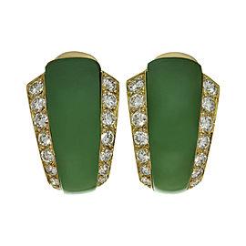 Van Cleef & Arples 18K Yellow Gold Diamond Green Chrysoprase Earrings