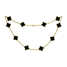 Van Cleef & Arpels Alhambra 18K Yellow Gold Onyx Motif Necklace