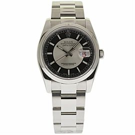 Rolex Datejust 116200 Stainless Steel Black/Silver Dial 36mm Unisex Watch