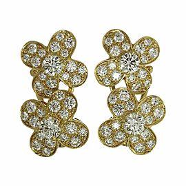 Van Cleef & Arples 18K Yellow Gold Trefle Diamond Flower Earrings