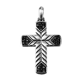 David Yurman 925 Sterling Silver Chevron Cross Black Diamonds Pendant