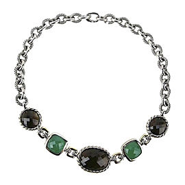 David Yurman 925 Sterling Silver 18K Yellow Gold Green Onyx Quartz Necklace