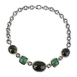 David Yurman 925 Sterling Silver 18K Yellow Gold Green Onyx Quartz Necklace