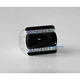 BACCARAT LOUXOR ST. SILVER DIAMOND BLACK MORDORE RING SIZE 7 US 55 NEW $2.800