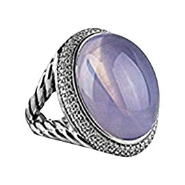 David Yurman 925 Sterling Silver Lilac Quartz Diamond Ring Size 7