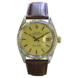 Rolex Datejust 16013 Stainless Steel & 18K Yellow Gold Gold Dial Vintage Mens 36mm Watch