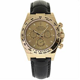Rolex Daytona 116518 18K Yellow Gold & Leather Champagne Dial Automatic 40mm Mens Watch