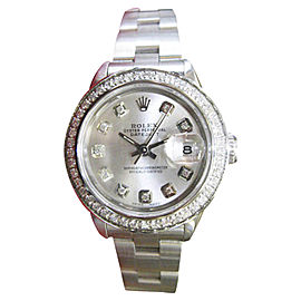 Rolex Datejust Stainless Steel Diamond Silver Dial 25mm Womens Watch
