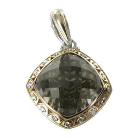 Tacori 18K Yellow Gold & 925 Sterling Silver 0.30cts Diamond & Smoky Quartz Pendant