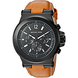 Michael Kors Dylan MK8512 Black Dial Brown Leather Strap Chronograph 46mm Mens Watch
