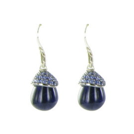 John Hardy Classic Chain 925 Sterling Silver Celestial Orb Sodalite & Lava Sapphire Drop Earrings