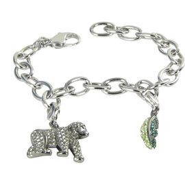 Swarovski Rhodium Green Crystal Gorilla Charm Bracelet