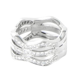 Kwiat Wave 18K White Gold with 0.83ct Diamond Partway Tri-Band Ring Size 6