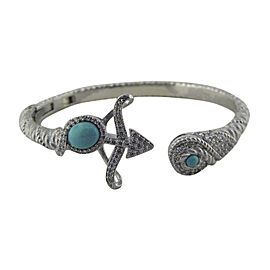 Judith Ripka Sterling Silver Cubic Zirconia & Turquoise Cuff Bracelet
