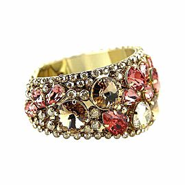 Thorson Hosier Yellow Gold Tone Hardware Swarovski Crystal Cuff Bracelet