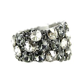 Thorson Hosier Rhodium Plated Mixed Metal Swarovski Crystal Cuff Bracelet