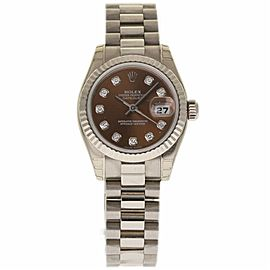 Rolex Datejust 179179 18K White Gold Brown Diamond Dial 26mm Womens Watch 2002