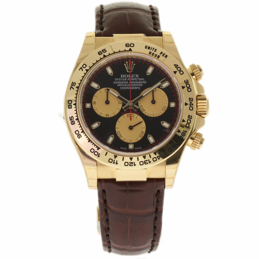 Rolex Daytona 116518 18k Yellow Gold Leather Black Dial Automatic