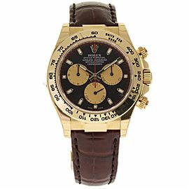 Rolex Daytona 116518 18K Yellow Gold & Leather Black Dial Automatic 40mm Mens Watch