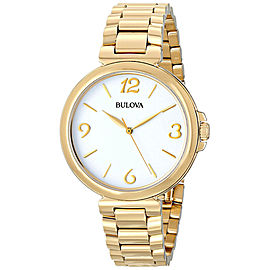 Bulova 97L139 Gold Tone Stainless Steel White Dial 38mm Womens Watch