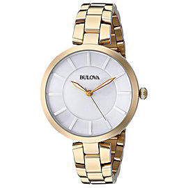 Bulova 97L142 Gold Tone & Stainless Steel White Dial 38mm Womens Watch