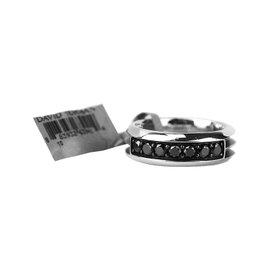 David Yurman 925 Sterling Silver Diamond Knife Edge Ring Size 10