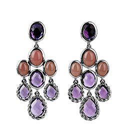 David Yurman 925 Sterling Silver Amethyst and Quartz Dangling Earrings