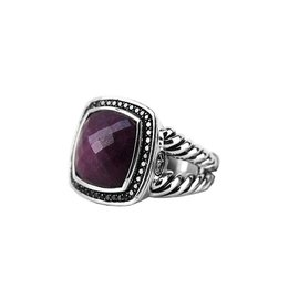 David Yurman 925 Sterling Silver with Ruby & Diamonds Split Shank Ring