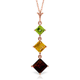 2.4 CTW 14K Solid Rose Gold Necklace Peridot, Citrine Garnet