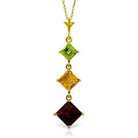 2.4 CTW 14K Solid Gold Necklace Peridot, Citrine Garnet