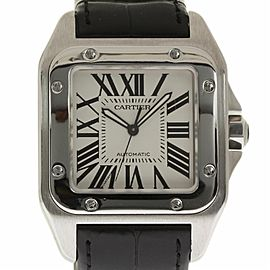 Cartier Santos 100 W20073X8 Stainless Steel Leather Automatic 41mm Unisex Watch