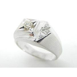 Cartier White Gold Diamond Mens Ring Size 8.25