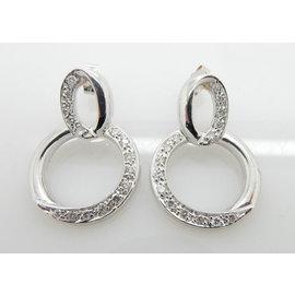 Cartier White Gold Diamond Mens Earrings