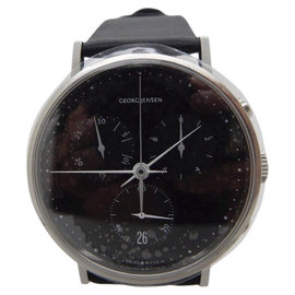 Georg Jensen Koppel 317 Stainless Steel & Leather Black Dial Quartz 38mm Mens Watch