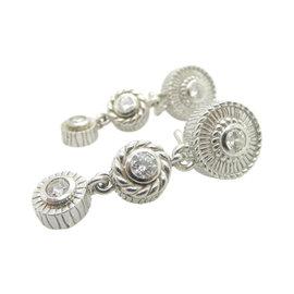 Judith Ripka 925 Sterling Silver & Cubic Zirconia Dangle Drop Leverback Earrings