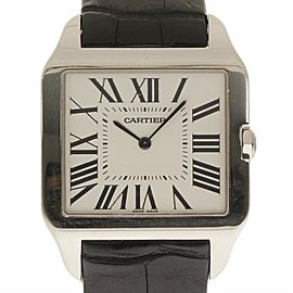 Cartier Santos Dumont W2007051 White Gold Black Leather 35mm Men's Watch