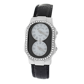 Philip Stein Teslar 2 Time Zone Steel Diamond Quartz 27mm Womens Watch
