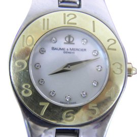 Baume & Mercier 65497 Stainless Steel & Gold Mother of Pearl Diamond Dial Quartz 25mm Womens Watch