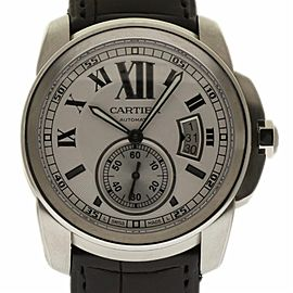 Cartier Calibre W7100037 42mm Stainless Steel Leather Men's Watch