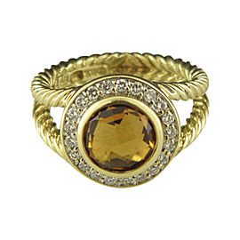 David Yurman 18K Yellow Gold with Citrine and Diamond Ring Size 6