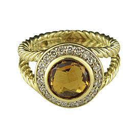 David Yurman 18K Yellow Gold with Citrine and Diamond Ring Size 6